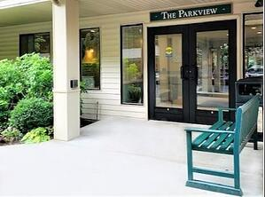 Entryway to Parkview 55+ apartments at Daystar Retirement in West Seattle