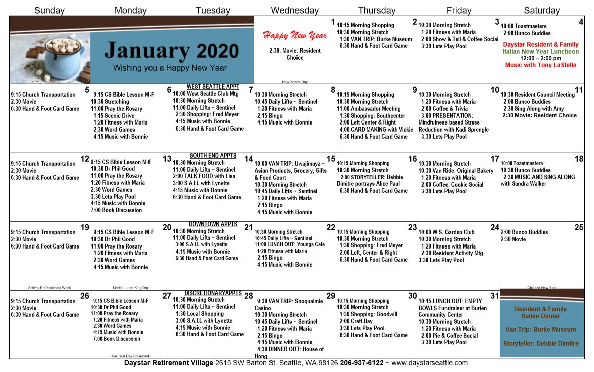 Daystar January 2020 Calendar
